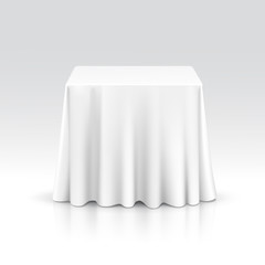 Vector Empty Square Table with Tablecloth
