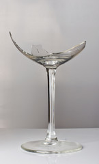 Crashed wine glass