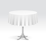 Vector Empty Round Table with Tablecloth