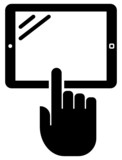 Tablet PC with hand vector icon