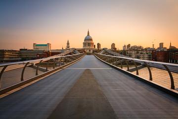 St. Paul's cathedral and Millennium footbridge, London.
