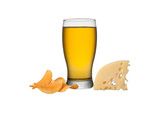 Glass of beer with crisps and cheese isolated on a white