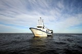 Trawler fishing boat stopped in open waters