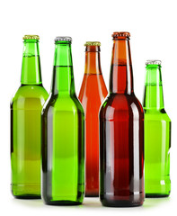 Bottles of beer isolated on white background