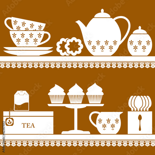 Plain coloured tea set