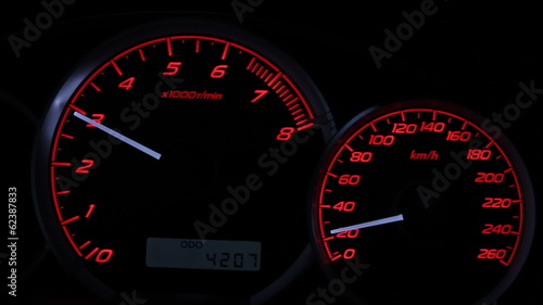 sports car instrument panel, high speed acceleration turbo sound