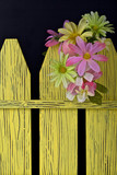 Spring flowers on a decorative fence,black background