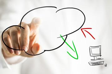 Cloud computing pictogram on a virtual interface
