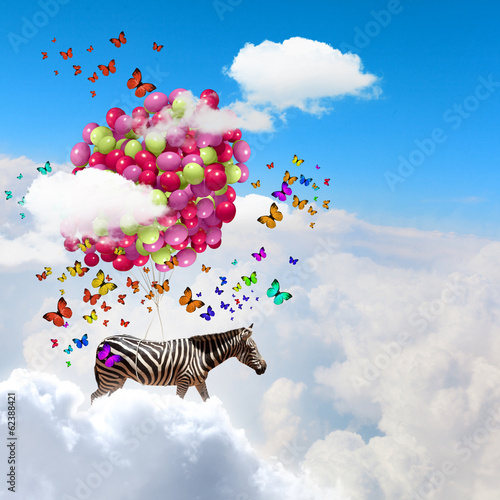 Foto op Plexiglas Zebra Flying zebra