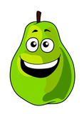 Fresh green cartoon pear fruit with a toothy grin