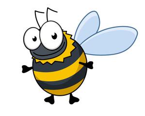 Flying cartoon bumble bee or hornet