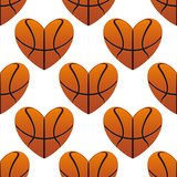 Basketball hearts in a seamless pattern