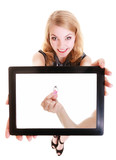 Girl showing ipad tablet touchpad with photo of engagement ring