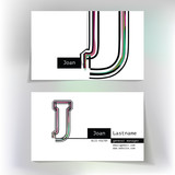 Business card design with letter J