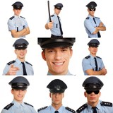 Photo mosaic of young police men