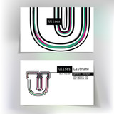 Business card design with letter U