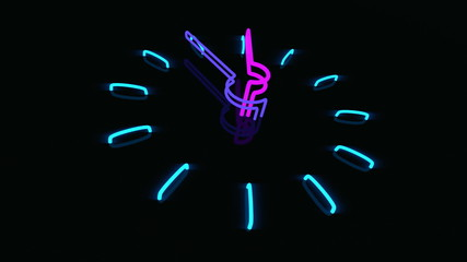Neon clock, 60 seconds duration, angle view