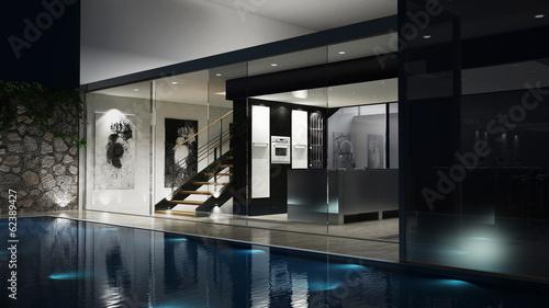 canvas print picture 3D Luxus-Einfamilienhaus