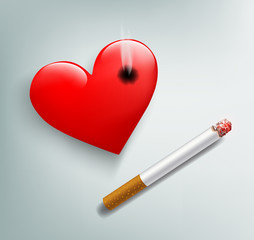 red human heart and cigarette