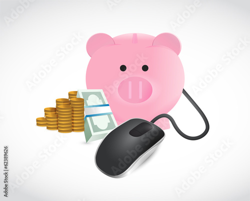 piggybank money and coins illustration