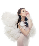 Charming sensual girl posing as angel, close-up poster