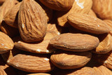 A pile of almonds as seen close up from above