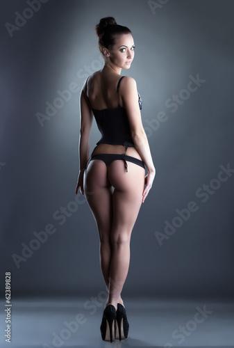 Pretty slim model advertises stylish underwear - 62389828