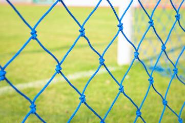 Blue Goal net. Shallow perspective, green grass