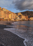 Camogli (Italy): The sunset lights up the features decorated hom