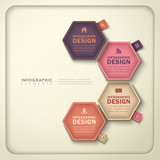 abstract hexagonal tag infographics