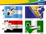 Soccer football players, Brazil 2014 group F Vector illustration