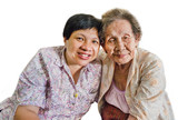 Thai elder mother and daughter hugging in isolated background
