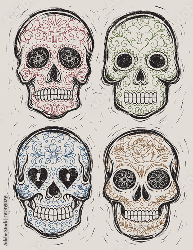 Woodcut Day of the Dead Sugar Skull Vector Set