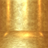 Vector abstract golden room with gold floor and walls