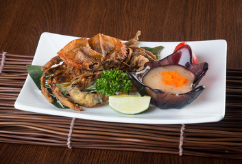 japanese cuisine. crab on the background