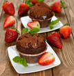 Chocolate cupcakes with strawberries