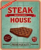 Vintage steak house poster design