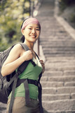 woman hiker climbing stairs at mountain huashan