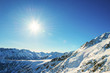 Winter mountain landscape against the blue sky. Peaks of Pirin M