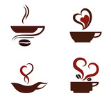 I love coffee. Coffee cups icons set.