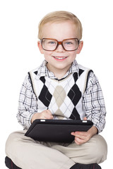 Little Boy Technology Geek. Isolated on white