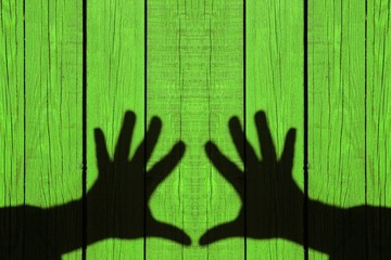 Shadow of two hands on the natural wooden green background