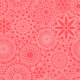 Lacy white circle flower mandalas seamless pattern on pink