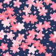 Pink asian sakura flowers on navy blue seamless pattern, vector