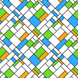 Colorful geometric squares seamless pattern in blue green