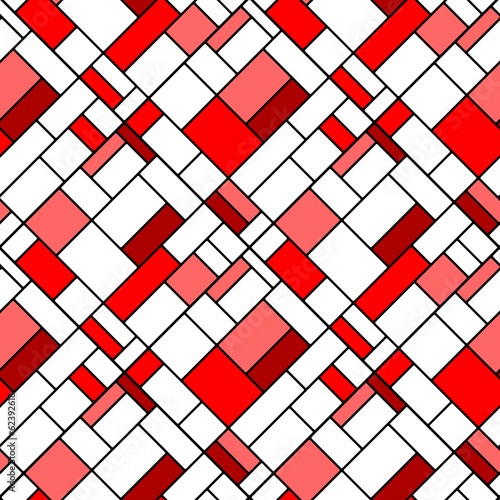 Tapeta ścienna na wymiar Colorful diagonal geometric squares seamless pattern in red