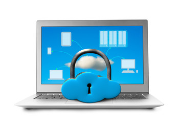 Cloud shape locker on laptop with devices drawing on screen