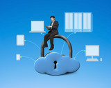 Using tablet and sitting on cloud shape locker