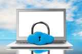 Cloud shape locker and laptop with blue sky