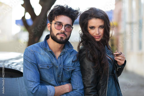 closeup of young outdoor couple